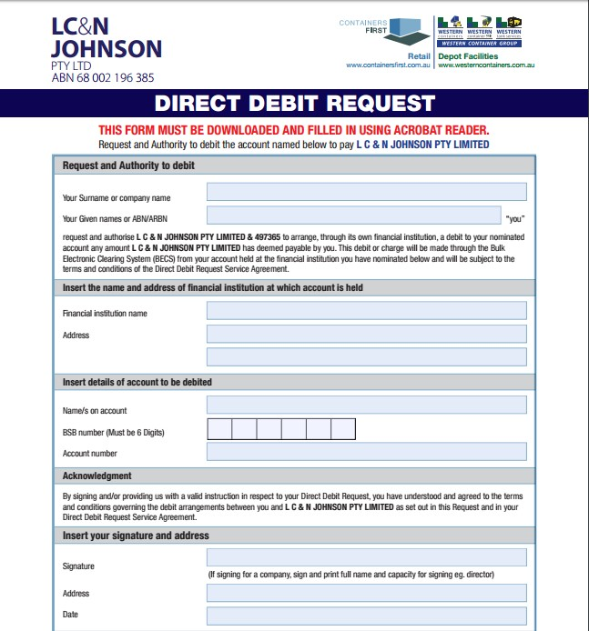 Direct Debit Request  Western Containers